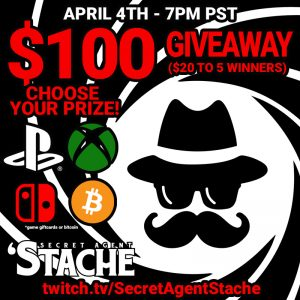 cryptostache stache secret agent twitch giveaway win